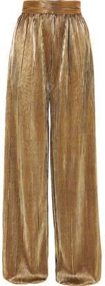 Semsem Plisse-lame Wide-leg Pants - Gold