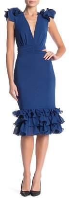 CQ by CQ Frilled Deep V-Neck Dress