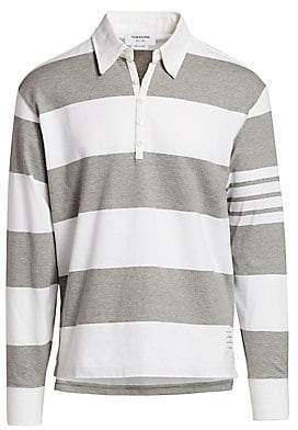 Thom Browne Men's Striped Long-Sleeve Polo Shirt