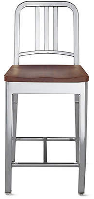 Design Within Reach 1006 Navy Counter Stool with Wood Seat