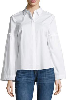 Neiman Marcus Poplin Bell-Sleeve Blouse