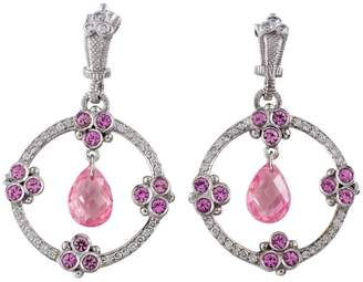 Judith Ripka 18K White Gold Pink Sapphire Diamond Rock Crystal Earrings