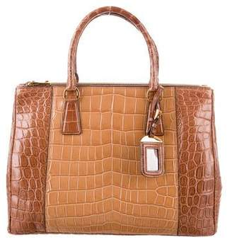Prada Crocodile Medium Double Zip Tote