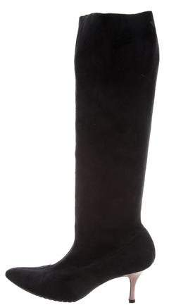 Emporio Armani Suede Knee-High Boots