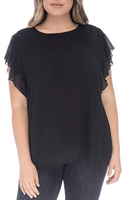 Bobeau B Collection by Curvy Haley Flutter Sleeve Mixed Media Top
