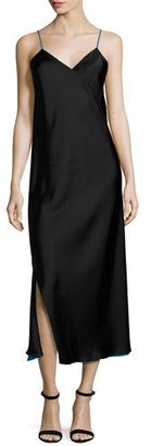 DKNY Sleeveless Reversible Satin Slip Dress, Black $498 thestylecure.com