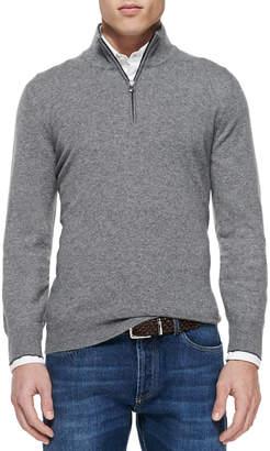 Brunello Cucinelli 2-Ply Cashmere Half-Zip Pullover