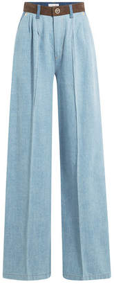 Sonia Rykiel Wide Leg Jeans with Suede Waistband