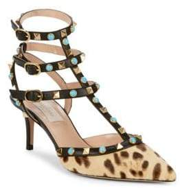 Valentino Rockstud Strappy Calf Hair & Leather Pumps