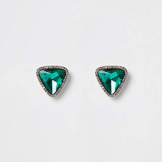 River Island Green triangle stud earrings