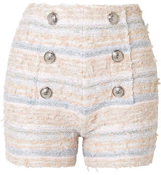 Balmain Button-embellished Tweed Shorts - Pink