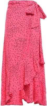 Ganni Barra Floral-print Crepe De Chine Midi Wrap Skirt