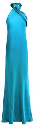 Pandora Galvan Silk Satin Halterneck Gown - Womens - Mid Blue