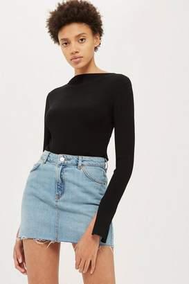 Topshop Petite High Waisted Denim Skirt