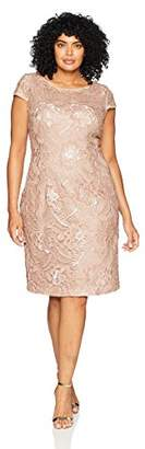 Alex Evenings Women's Plus Size Midi Cap Sleeve Dress with Sequin
