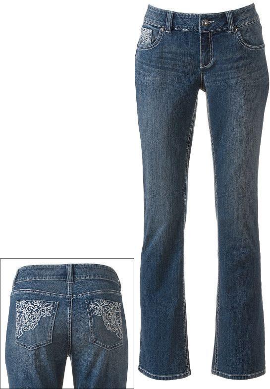 Apt. 9 embellished bootcut jeans
