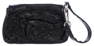 Saint Laurent Mini Leather Flower Wristlet