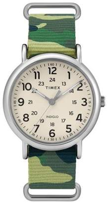 Timex Men's Weekender 40 Green Camo Watch, Nylon Slip-Thru Strap