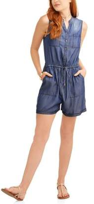 Time and Tru Women's Denim Utility Romper