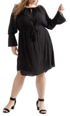 Lucky Brand Plus Plus Polka Dot Bell-Sleeve Dress