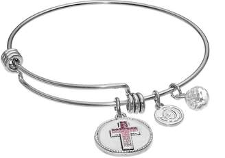 "Love This Life love this life Crystal ""Faith Hope Love"" Cross Charm Bangle Bracelet"
