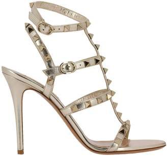 Valentino GARAVANI Heeled Sandals Rockstud Sandals In Laminated Leather With Ankle Strap And Metal Studs