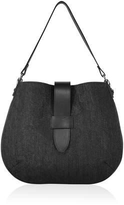 Joanna Maxham Tulip Hobo Bag Black Intreccio Fabric