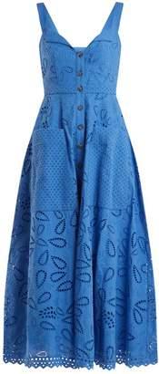 Saloni Fara Broderie Anglaise Cotton Midi Dress - Womens - Blue