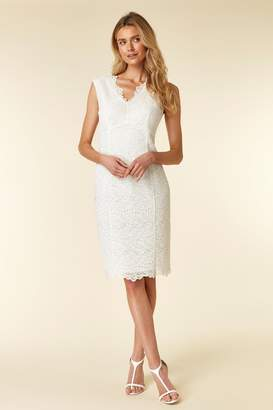 WallisWallis Ivory Lace V-Neck Dress