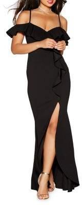 Quiz Ruffled Cold Shoulder Maxi Dress