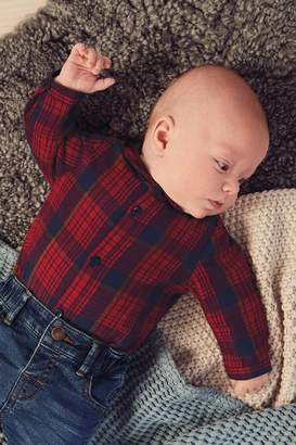 Next Boys Red Super Soft Brushed Checked Shirt Bodysuit (0mths-2yrs) - Red