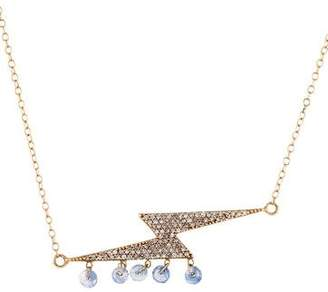 Lightning Bolt 14K Diamond & Sapphire Pendant Necklace