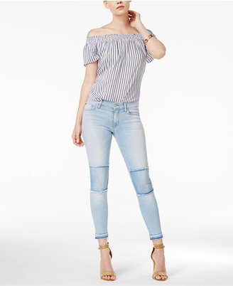 Hudson Suzzi Patched Skinny Jeans $195 thestylecure.com
