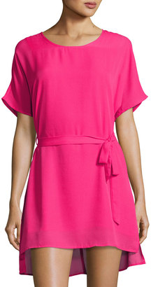 Lucca Couture Short-Sleeve Belted Dress, Fuchsia $59 thestylecure.com