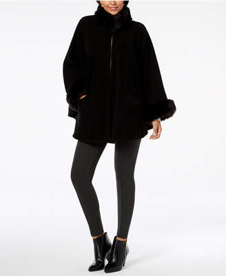 Cejon Solid Fleece & Faux-Fur Cape