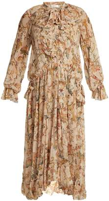 Zimmermann Painted Heart floral-print ruffle-trim silk dress