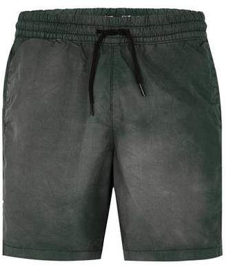 Topman Mens Green Poplin Acid Wash Shorts