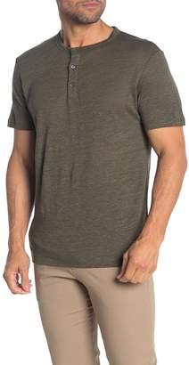 Theory Essential Slub Linen Short Sleeve Henley