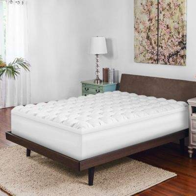 Twin Gel-Infused Baffle Box Memory Foam Mattress Topper in White