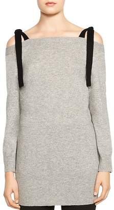 Halston Cold-Shoulder Merino Wool & Cashmere Top