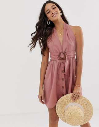 7f8e85a44eb Asos Design DESIGN halter neck mini button through linen sundress with  buckle