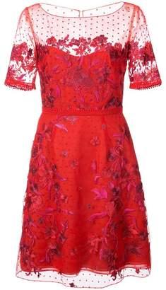 Marchesa embroidered point d'esprit mini dress