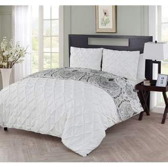 VCNY Home Maison Solid Pintuck Technique Reversible Paisley Damask Printed 3 Piece Bedding Duvet Cover Set, Shams Included