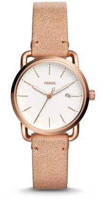 Fossil The Commuter Three-Hand Date Sand Leather Watch