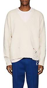 Maison Margiela Men's Destroyed Wool Oversized Sweater - Ivorybone