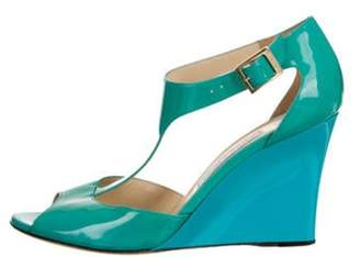 Jimmy Choo Patent Leather Wedge Sandals Turquoise Patent Leather Wedge Sandals