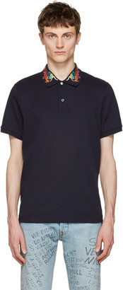 Gucci Navy Embroidered Polo $690 thestylecure.com
