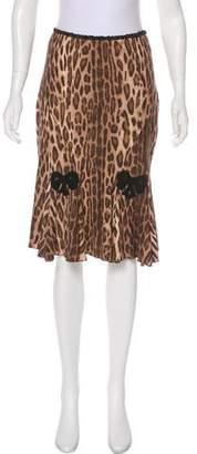 Blumarine Animal Print Knee-Length Skirt