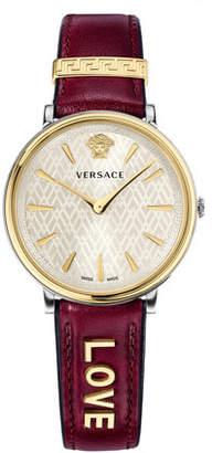 Versace 38mm Love Manifesto Leather Watch, Red