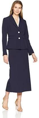 Le Suit Women's Crepe 2 Btn Notched Petal Collar Column Skirt